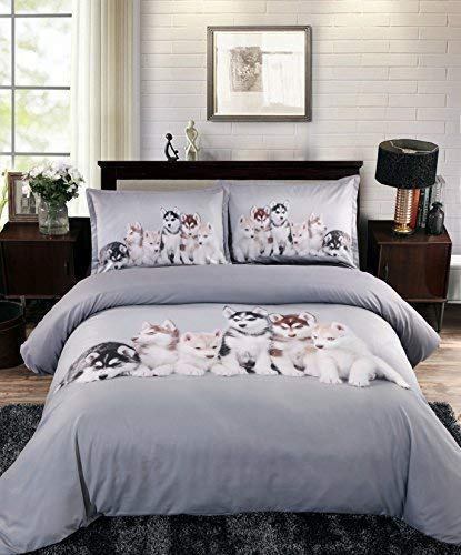 UniTendo Husky Puppies High Definition Digital Beddings Light Silver Gray 4-Piece Duvet Cover Sets 3D Bedding Sets, Queen Szie.