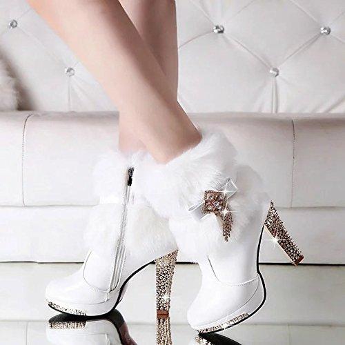 Women Winter Black Snow heeled High Cotton Boots WIKAI Warm Shoes dqAdY