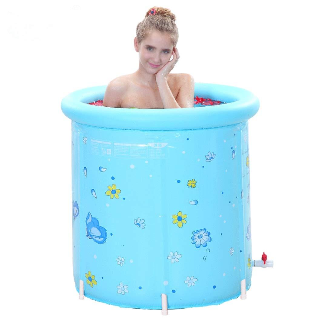 YONGYONG Blue Fashion Adult Bath Barrel Folding Bath Barrel Bath Barrel with Bracket 80cm*80cm (Color : Blue, Size : 80cm*80cm) by Yongyong (Image #1)