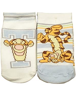 Winnie the Pooh 2 Non-slip Baby Socks ~ 18-24 Months (T for Tigger; Handstand)