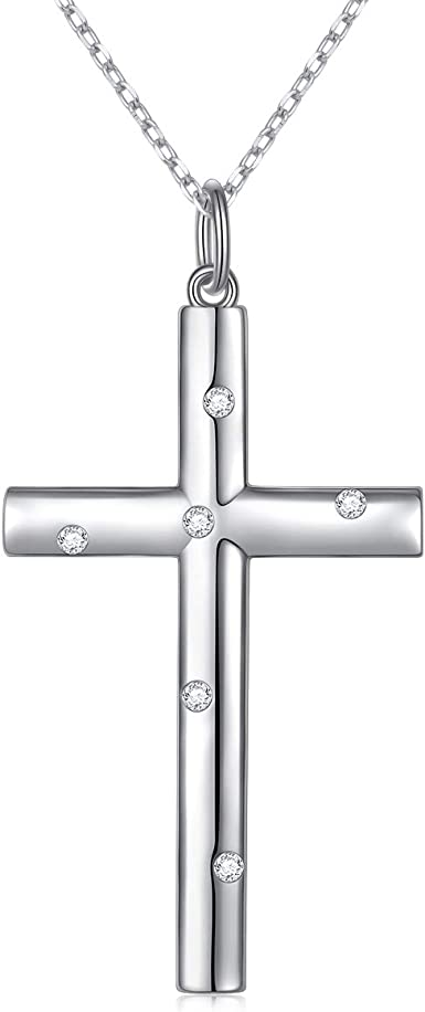 Sterling Silver Square Cubic Zirconia Cross Religious Charm Pendant