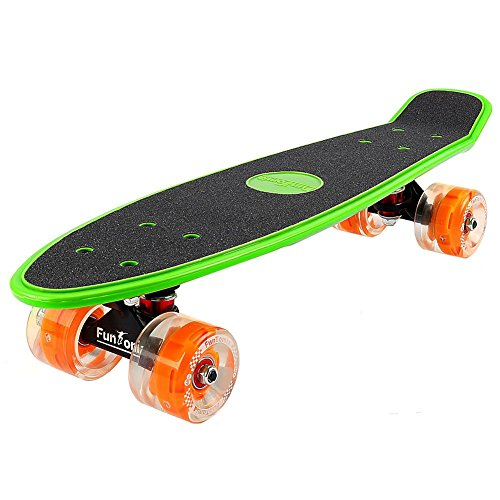 FunTomia Mini-Board Cruiser Skateboard mit 70mm Big Wheel Rollen inkl. ABEC-11 MACH1® Kugellager (Grün LED)