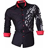 jeansian Men's Slim Lion Tattoo Print Long Sleeves Dress Shirts Tops Z030