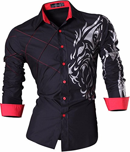 jeansian Men's Slim Fit Tattoo Printed Long Sleeves Dress Shirts Tops Z030