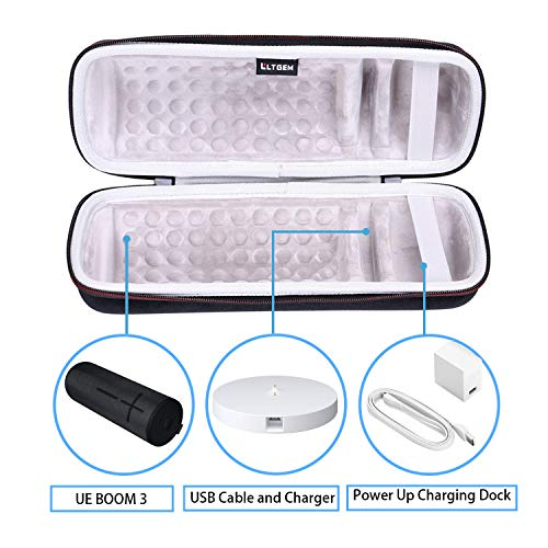 LTGEM EVA Hard Case for Ultimate Ears UE Boom 3 Portable Bluetooth Wireless Speaker - Travel Protective Carrying Storage Bag (Fits Charging Cradle, Charger and USB Cable)
