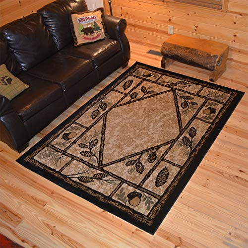 Rustic Lodge Wooded Pine Cone 8x10 Area Rug, 7