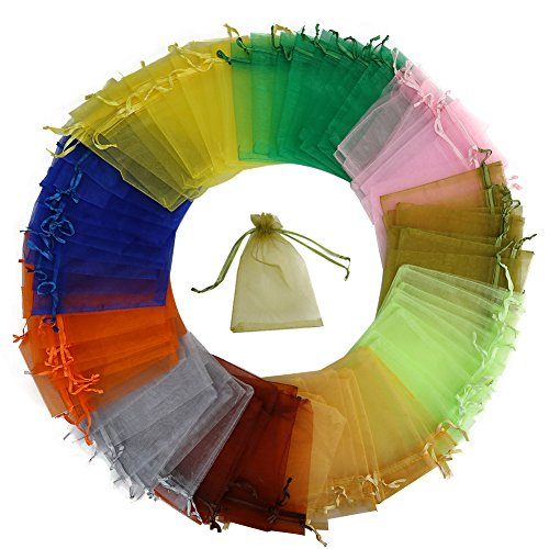 HRX Package 100pcs Multi-Colored Organza Bags,4