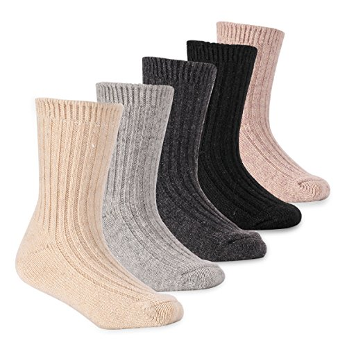 Boys Thick Wool Socks Kids Winter Seamless Warm Socks 5 Pack 6-8 (Boys Wool)