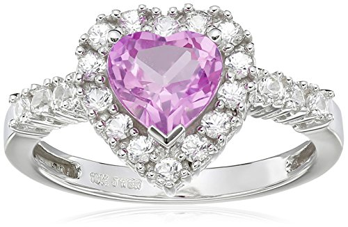 10K White Gold Created Pink Sapphire Hea - New Pink Sapphire Shopping Results