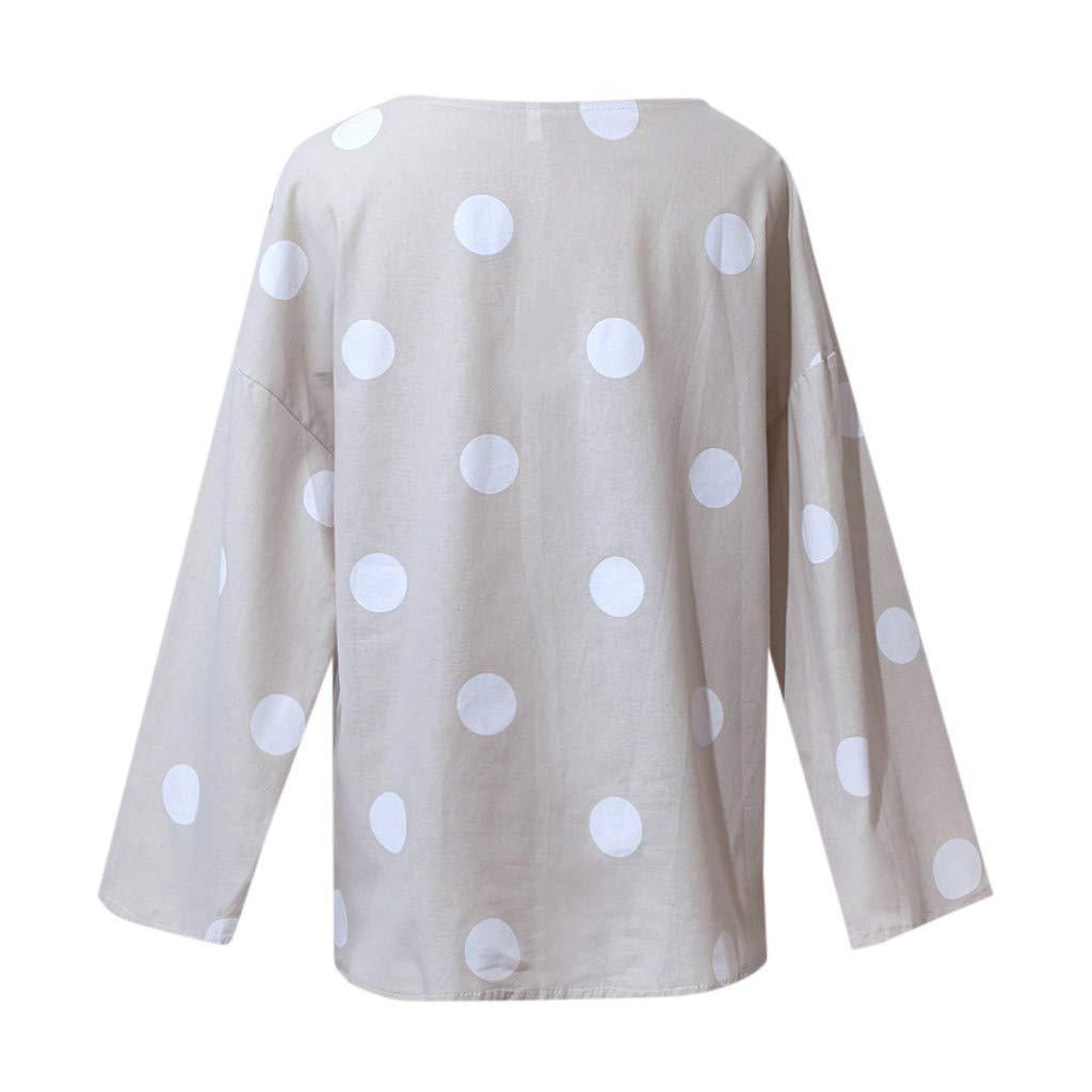 Elsta Damen T-Shirt Leinenblusen Sommer Loose Kurzarm Ausschnitt Print Oberteile Tops Lose Oversize Baumwolle Leinen Knopf Feste T/ägliche Beil/äufige Hemd Bluse