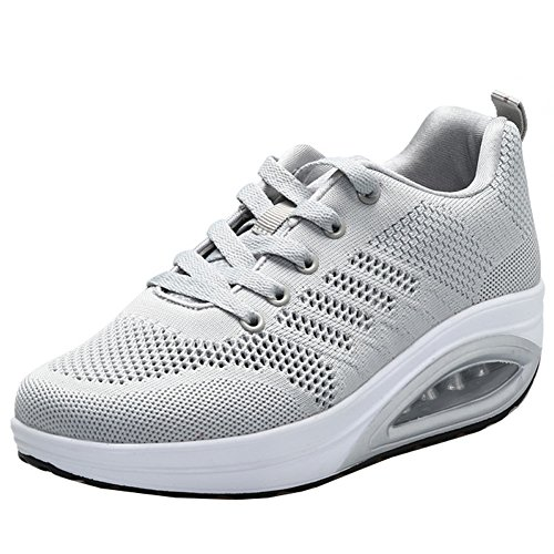 JARLIF Women's Comfortable Platform Walking Sneakers Lightweight Casual Tennis Air Fitness Shoes All Gray US5.5