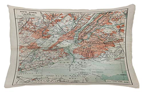 Lunarable NYC Throw Pillow Cushion Cover, New York Old Map from End of 19th Century History Historical Antiques Symbol, Decorative Accent Pillow Case, 26 W X 16 L Inches, Beige ()