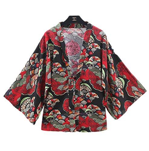 (アイノウ)AINOR レディース ファッションシャツ 和服式パーカー 薄いコート カーディガン 、原宿日系 個性プリント ゆったり 重ね着 、日焼け止め服  日常?演出服 快適 (8 スタイル)