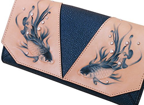 Handbags Embossed Blue Leather and Clutch Bellorita Women Painted Hand Tooled Crossbody Fish Hand Designer zOx8Hqa