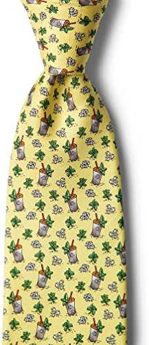 Men's 100% Silk Yellow Southern Mint Julep Afternoon Necktie Tie Neckwear