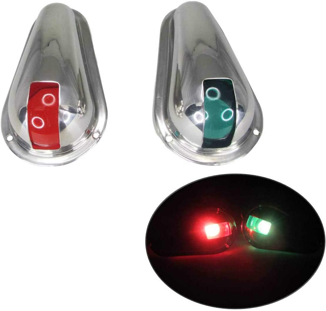Pactrade Marine Boat Navigation Side Light Pair Vertical Mount Red Green Splashproof