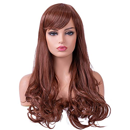 BESTUNG Light Brown Long Curly Wavy Wigs for Women Ladies Synthetic Full Hair Natural Light Brown Honey Candy Color Wig with Bangs for Cosplay Costume or Daily Life (Honey -