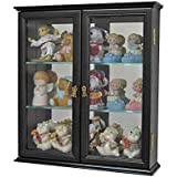 Small Wall Mounted Curio Cabinet / Wall Display Case with glass door (Black)
