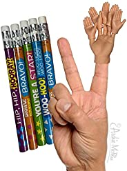 One Finger Hand with 5 Mini Finger Hands for Finger Hand and 5 Funny Mini Pencils | Soft Vinyl Finger Puppets|