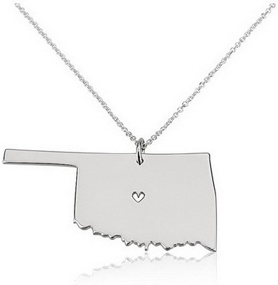 Oklahoma state necklace Oklahoma Necklace Oklahoma love Oklahoma map necklace