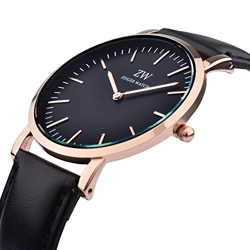 Zeiger New Mens Women Fashion Casual Business Black Dial Analog Quartz Watch with Leather Band ( Black and Rose Gold)