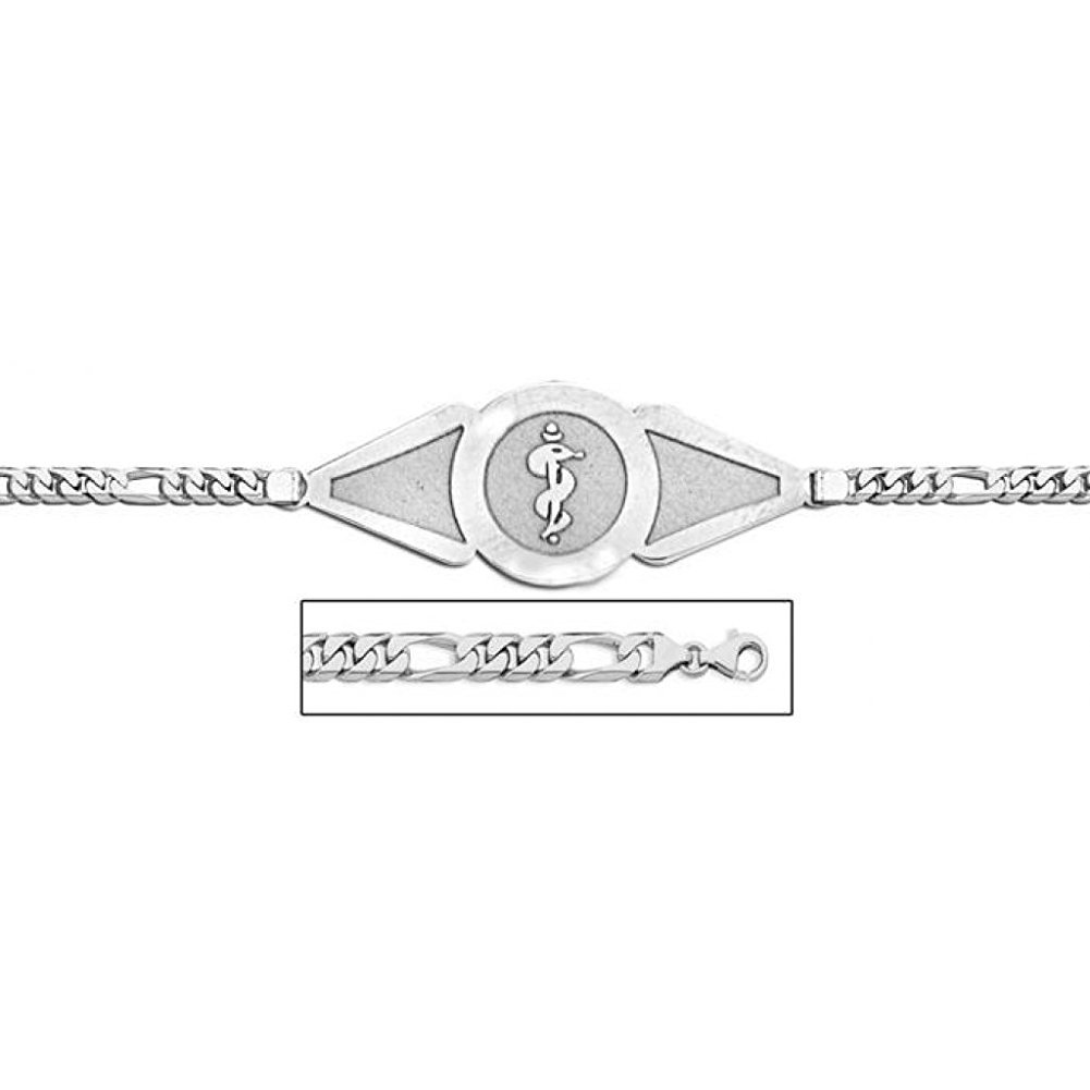 PicturesOnGold.com Sterling Silver Medical ID Bracelet W/Figaro Chain - 7-1/2 Inch WITH ENGRAVING