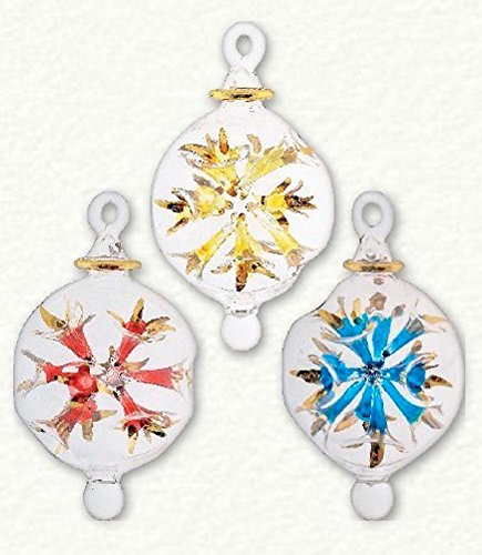 Mini Multi Color Starburst Egyptian Glass Christmas Ornament Set 3 Made in Egypt