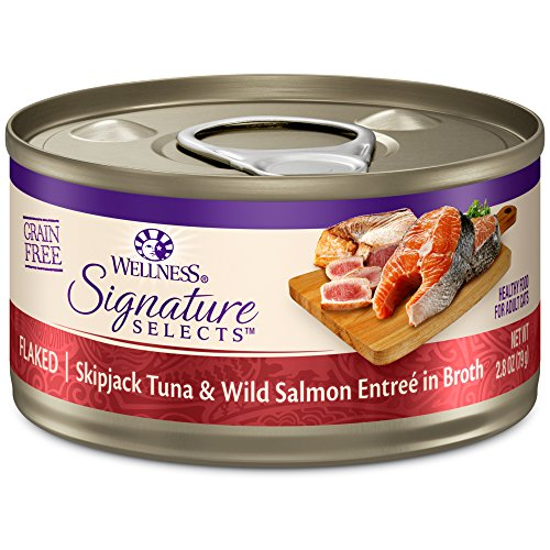 Wellness Core Signature Selects Grain Free Wet Canned Cat Food, Flaked Skipjack Tuna & Salmon, 2.8-Ounce (Pack Of 12)