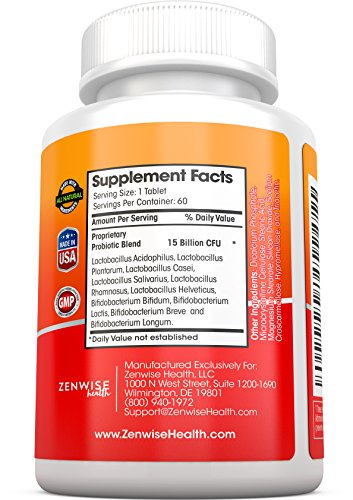 Zenwise Labs Probiotic Digestive Supplement - Formulated for Men and Women - Lactobacillus and Bifidobacterium - 60 Vegetarian Tablets