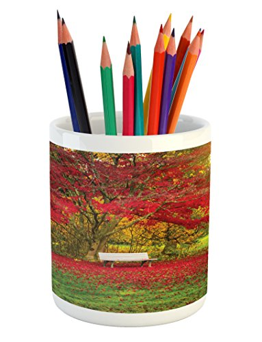 Lunarable Tree Pencil Pen Holder, Single Bench in City Park Nobody between Maple Trees Public Area Town Recreation Image, Printed Ceramic Pencil Pen Holder for Desk Office Accessory, Red (Maple Single Pen Box)