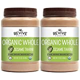 Revive Naturals Organic Stone-Ground Whole Sesame Tahini, Unhulled, Unsalted, Non-GMO, USDA Organic, Gluten-Free, Kosher, Vegan, Tree Nut-Free, 15 Ounce (2-Pack)