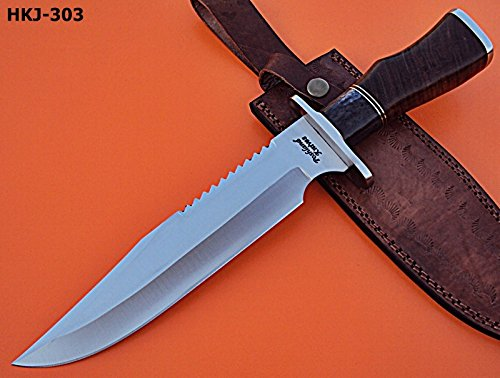 "REG-HKJ-303- Handmade High Carbon Steel 14.0"" Inches Bowie Knife -Wallnut Wood & Bone Handle"