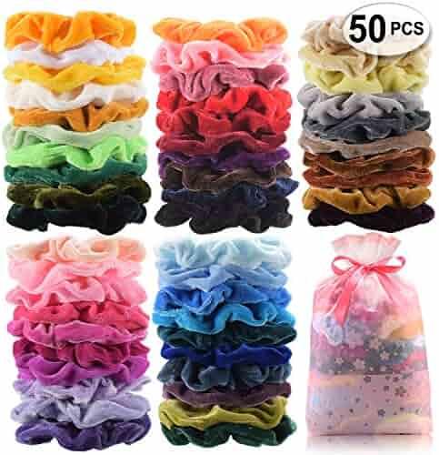 50 Pcs Premium Velvet Hair Scrunchies Hair Bands Scrunchy Hair Ties Ropes Ponytail holder for Women or Girls Hair Accessories