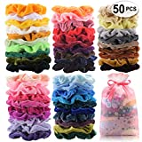 Beauty : 50 Pcs Premium Velvet Hair Scrunchies Hair Bands Scrunchy Hair Ties Ropes Ponytail holder for Women or Girls Hair Accessories