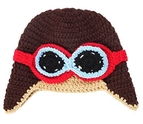La Vogue Baby Boy Girl Beanie Pilot Aviator Crochet Earflap Hat Warm Winter Cap Brown (Vogue Cap)