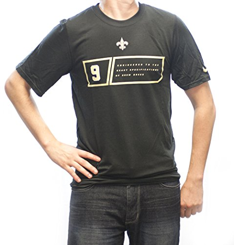 Price comparison product image Men's Nike New Orleans Saints Drew Brees Player Specs Tee Black/Carbon Heather Size Medium