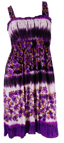#801-1 NY Deal Women's Smoked Tube Dress Cover Up, Purple, Large