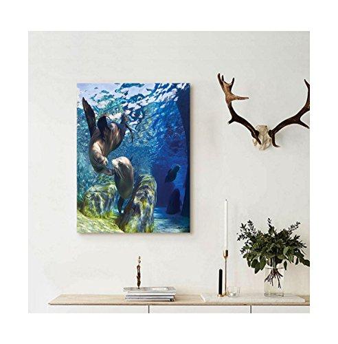 Liguo88 Custom canvas Sea Animals Decor Wall Hanging Playful