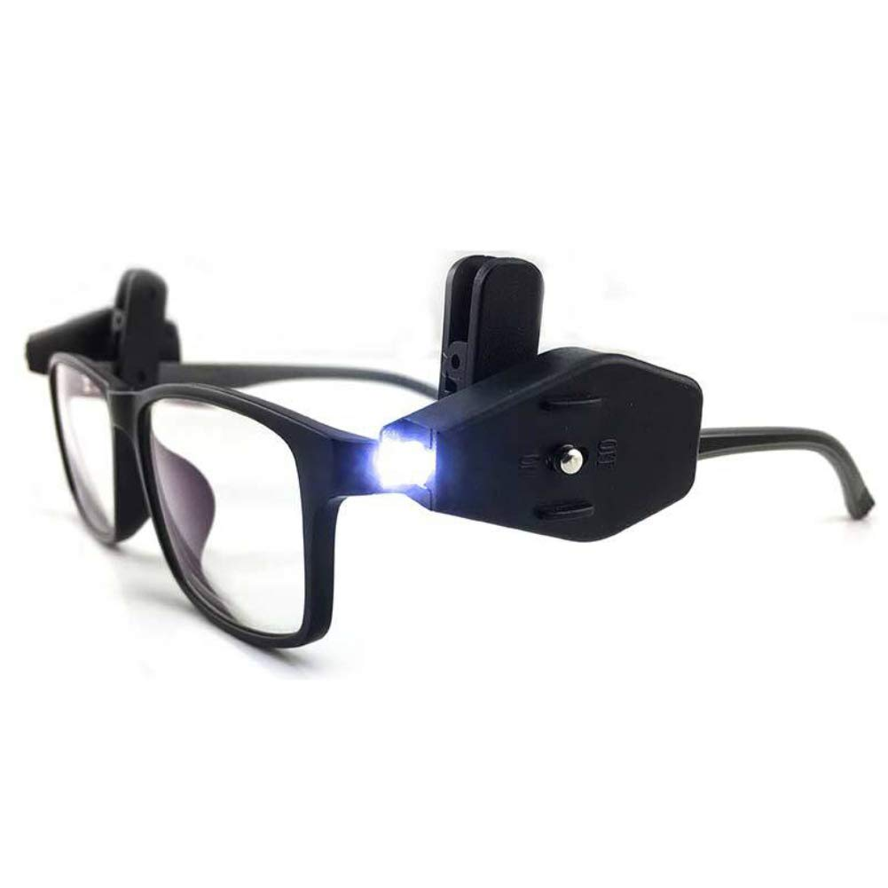 eroute66 Portable Mini LED Light Glasses Clip-on Lamp Reading Illumination Outdoor Tool Black