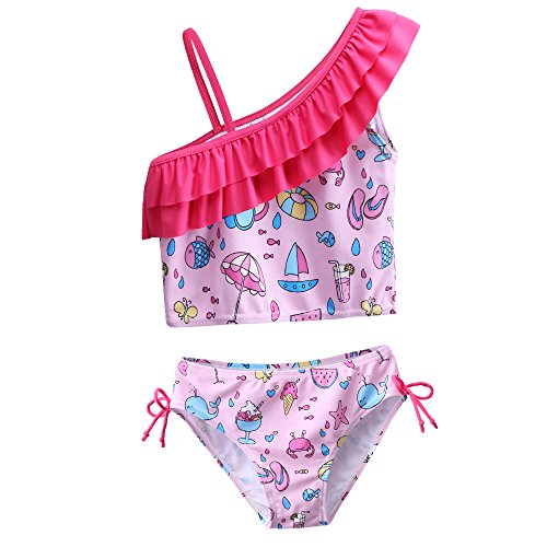 Little Girls 3 Pieces Cherry Blossoms Pattern Lovely Tankini Swimsuit Swimwear 3-12 Years (3-4Years(Tag No. 4A), Pink) ()