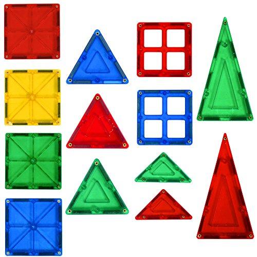 Alek...Shop Educational Construction Toys Magnetic Building Kids 60Piece Tiles Toy Set w/ Carrying Case Multicolor by Alek...Shop (Image #3)