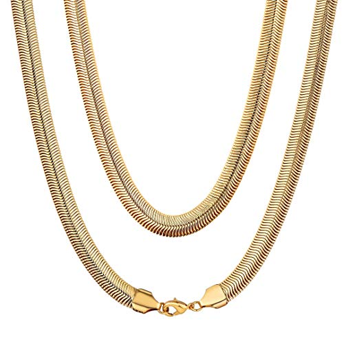 (ChainsHouse Men Women 18K Gold Plated Flexible Mesh Curb Snake Chain Hip Hop Fashion Jewelry Boys 8MM Wide Link Necklace, Box, 26 Inch)