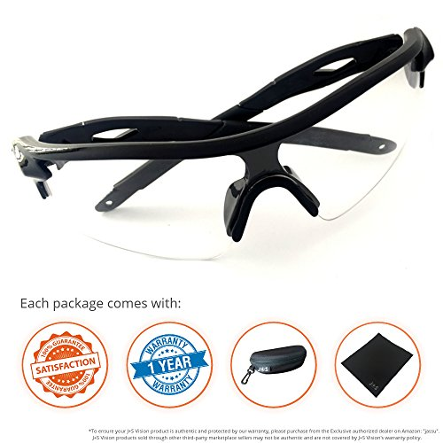 J+S Active PLUS Cycling Outdoor Sports Athlete's Sunglasses, 100% UV protection (Black Frame / Clear Lens)