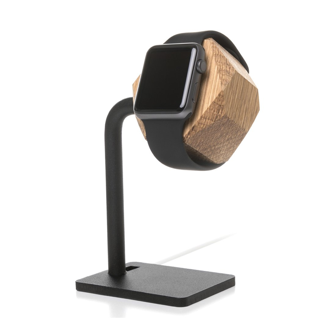 Woodcessories EcoDock Watch Edt. - Premium Design Docking Station, Dock, Tray for all Apple Watch Series (1, 2, 3) made of solid, FSC certified wood (Oak)