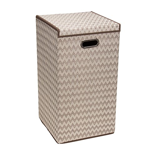 Household Essentials 5624-1 Collapsible Single Laundry Hamper with Magnetic Lid | Chevron