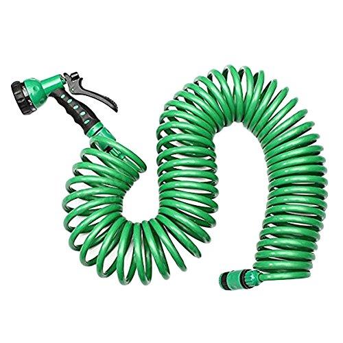 Zehui Professional 7.5m Household Car Wash Garden Water Hose Kit Retractable Coil Hose with 7 Pattern Spray Nozzle European (Retractable Nozzles)