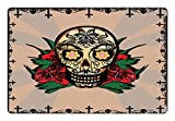 Cheap Lunarable Mexican Pet Mat for Food and Water, Romantic Sugar Skull with Red Rose and Spooky Halloween Horror Mystic Themed Image, Rectangle Non-Slip Rubber Mat for Dogs and Cats, Multicolor