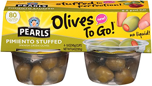 Olives Stuffed Pimiento (Pearls Olives To Go! Pimiento Stuffed Spanish Green Olives , 6 Packages of (4) 1.6 Ounce Servings)