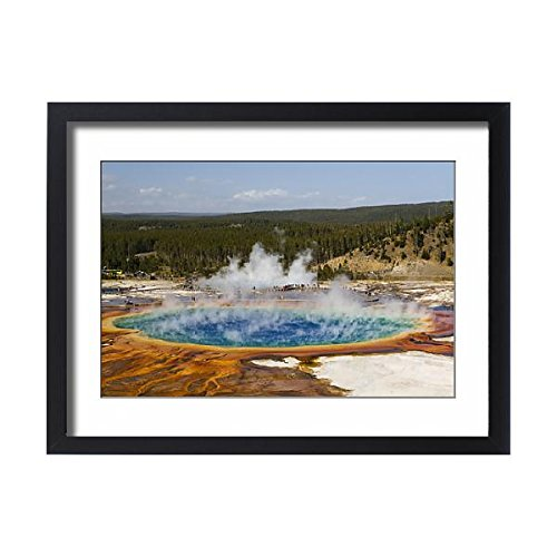 Third Geyser Basin - Media Storehouse Framed 24x18 Print of Elevated view of Grand Prismatic Spring, the largest in the U (13984528)