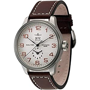 Zeno-Watch Mens Watch - OS Retro Big Date + Dual-Time - 8651-f2